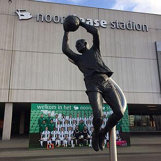 FC Groningen - Statue of Tonny van Leeuwen in front of FC Groningen's Euroborg stadium