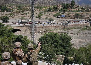 Afghanistan–Pakistan relations - U.S. Armed Forces checking the border checkpoint at Torkham, between Nangarhar Province of Afghanistan and Khyber Pakhtunkhwa in Pakistan.