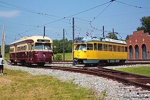 Toronto PCC streetcar 4602 and Haagsche Tramweg-Maatschappij (HTM) 1329 at the National Capital Trolley Museum..jpg