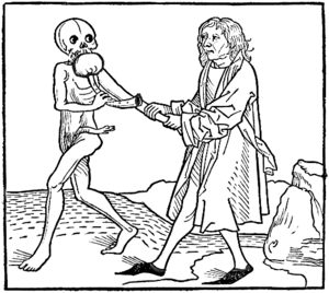 Bladder pipe - The burgomeister and death, showing death with a bladder-pipe. From the Heidelberger Totentanz, c. 1488.