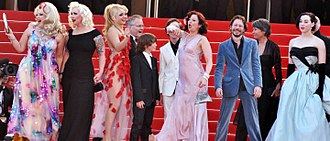 On Tour (2010 film) - The red carpet at the Cannes Film Festival on 13 May 2010. From left to right: Dirty Martini, Mimi Le Meaux, Julie Atlas Muz, festival general Thierry Frémaux, Simon Roth, Joseph Roth, Kitten on the Keys, Mathieu Amalric, festival CEO Véronique Cayla and Evie Lovelle.