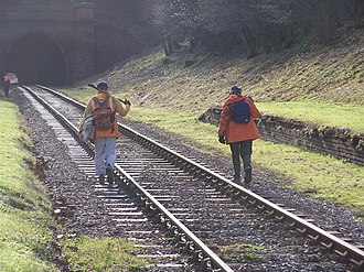 West Hoathly railway station - Image: Track workers walking the line