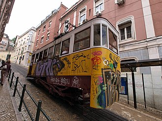Ascensor da Glória - The tram car descending to the lower station