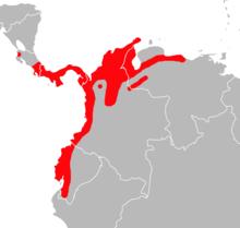 Mapa de distribución de Transandinomys talamancae