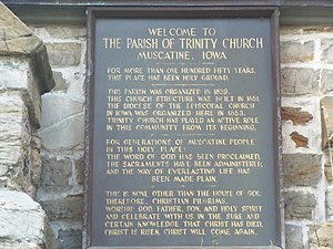 Trinity Episcopal Church (Muscatine, Iowa) - Plaque on the church