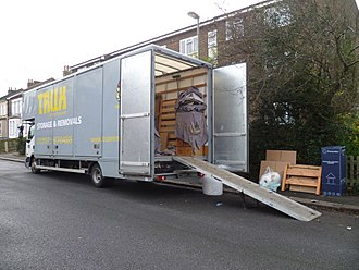 Affordability of housing in the United Kingdom - A removal van in London.