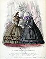 Tryck. Modebild från Le Journal des dames et des demoiselles. Maj 1861. Klänningar - Nordiska Museet - NMA.0052109.jpg