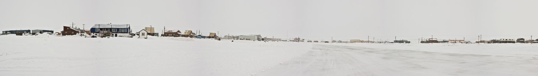 Hamlet of Tuktoyaktuk captured from the ice road to Inuvik, Northwest Territories, Canada