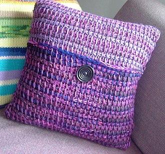Tunisian crochet - Tunisian crochet pillow.