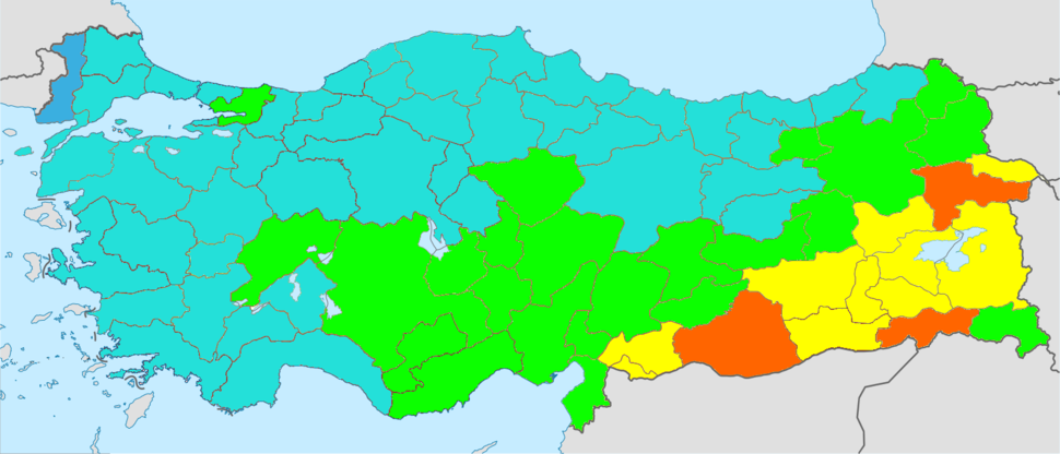 Turkey total fertility rate by province 2014
