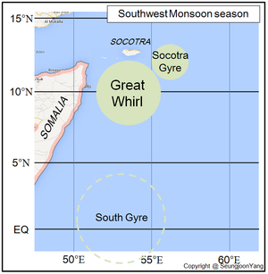 Somali Current - Two gigantic eddies at the north west Indian Ocean during Southwest Monsoon