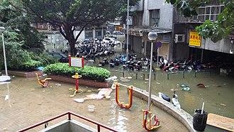 Typhoon Hato - Street flooding in Macau