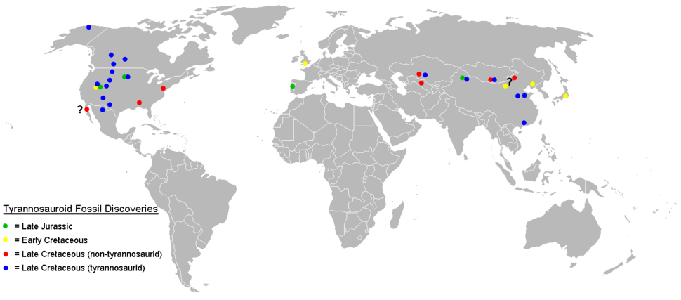 Tyrannosauroid fossil localities map