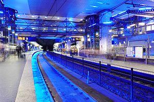 Essen Stadtbahn - The central underground station of Essen Hauptbahnhof; since its renovation in 1998, it has been illuminated by blue light