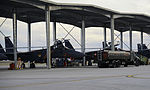 U.S. Air Force aircraft assigned to the 428th Fighter Squadron are refueled by an R-11 refueler at Mountain Home Air Force Base, Idaho, Oct. 7, 2013, during exercise Mountain Roundup 2013 131007-F-YJ424-041.jpg