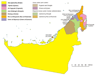 I sette emirati degli EAU. Come si nota, l'emirato di Abu Dhabi (in giallo) è molto più esteso di tutti gli altri messi insieme.