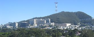 University of California, San Francisco - The Parnassus campus, home of many academic programs and the UCSF Medical Center, with Mount Sutro and the Sutro Tower in the background