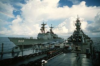 USS Arthur W. Radford - Arthur W. Radford performing an underway replenishment with Iowa.