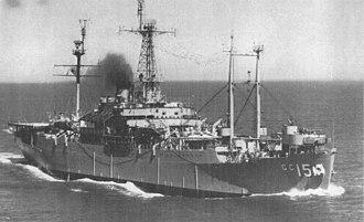 USS Adirondack (AGC-15) - Image: USS Adirondack (AGC 15) underway in the 1950s