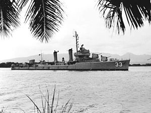 USS Carmick (DD-493) - Carmick at Pearl Harbor, circa in the early 1950s.
