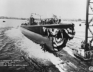 """USS Darter (SS-227) - Darter (SS-227), """"Down the Ways,"""" 6 June 1943."""
