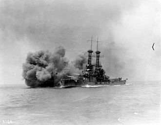 USS Delaware (BB-28) - Delaware firing her main battery during gunnery drills in 1920