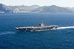 USS Dwight D. Eisenhower transits through the Strait of Gibraltar into the Mediterranean Sea (27388042450).jpg