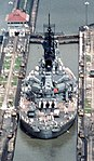 USS Iowa Pedro Miguel Locks cropped - it is a very tight fit, about 8 inches of clearance on each side...jpg