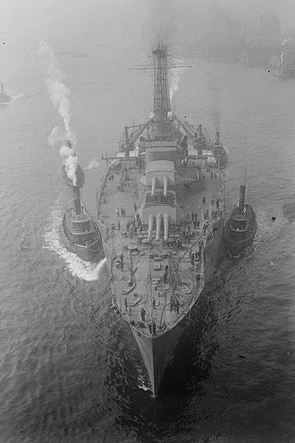 Nevada-class battleship - USS Nevada being towed. Note forward turrets