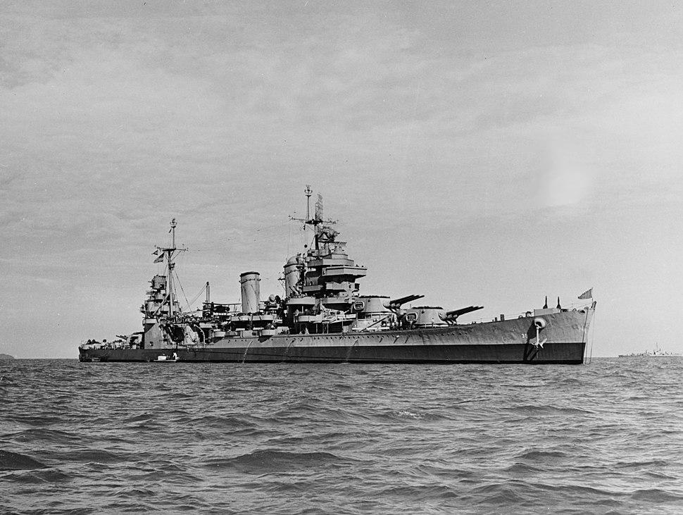 USS San Francisco (CA-38) off the Korean coast, 28 September 1945
