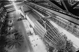 Rigid airship - Construction of USS ''Shenandoah'' (ZR-1), 1923, showing the framework of a rigid airship.
