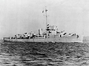 USS Wyffels (DE-6) - USS Wyffels (DE-6) underway in April 1943