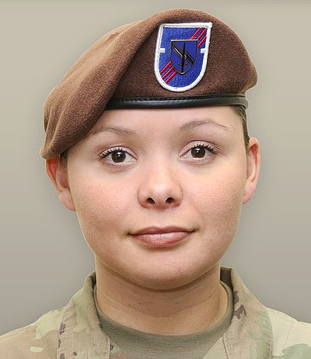 ccb2e48f21408 A soldier from the 1st SFAB wearing her brown beret