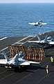 US Navy 030313-N-3235P-501 F-A-18 Hornets assigned to Carrier Air Wing Three (CVW-3) launch from the flight deck of USS Harry S. Truman (CVN 75).jpg