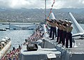 US Navy 050902-N-6775N-013 A formation of Marines assigned to Marine Forces Pacific, Hawaii perform the ceremonial Rifle Volley Salute during the 60th Anniversary of the end of World War II held aboard the USS Missouri (BB 63).jpg