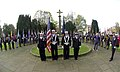 US Navy 051207-N-9565D-001 Members of Commander, U.S. Naval Activities, United Kingdom, color guard stand with British color guard in front of St. Mary's Church.jpg