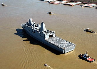 San Antonio-class amphibious transport dock - Image: US Navy 070305 N 7427G 001 Pre Commissioning Unit New Orleans (LPD 18) leaves Avondale Shipyard and transits up the Mississippi River toward her commissioning site in New Orleans