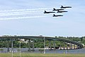 US Navy 070523-N-8395K-001 The U. S. Navy's Flight Demonstration Squadron, also known as the Blue Angels, display precision flight maneuvers over the Naval Academy Bridge.jpg