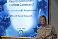 US Navy 090714-N-7676W-037 Rear Adm. Carol M. Pottenger, commander, Naval Expeditionary Combat Command (NECC), presents a briefing on the science and technology needs and solutions for the warfighter.jpg
