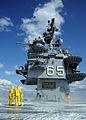 US Navy 100418-N-4516G-345 Air department Sailors test the sprinkler system on the flight deck of the aircraft carrier USS Enterprise (CVN 65) during sea trials.jpg