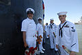 US Navy 110817-N-NK458-129 Sailors wait behind the sail for liberty call to be announced aboard the Los Angeles-class attack submarine USS Scranton.jpg