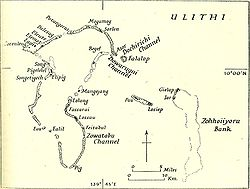 Mapa do atol de Ulithi