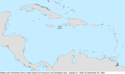 Map of the United States in the Caribbean Sea from August 31, 1858, to December 30, 1862