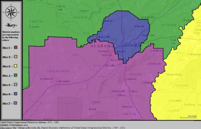 United States Congressional Districts in Alabama (metro highlight), 1973 – 1982.tif