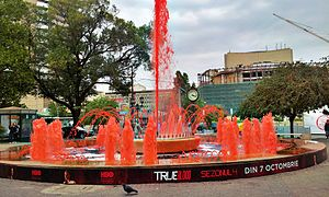 True Blood - The fountain in Bucharest's University Square being colored in red for the premiere of 4th season
