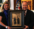 University of Oklahoma President David L. Boren and Nicole Poole, Daughter of Artist O. Gail Poole.jpg