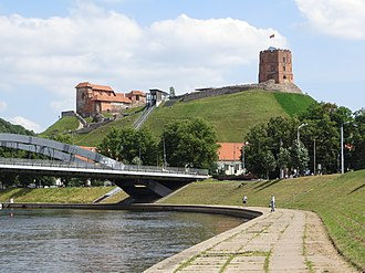 Neris River at Mindaugas Bridge with Vilnius Upper Castle in the distance. A favorable geographic location made the Upper Castle on the Gediminas' Hill unconquerable for hundreds of years. Upper Castle in Vilnius (2013).jpg