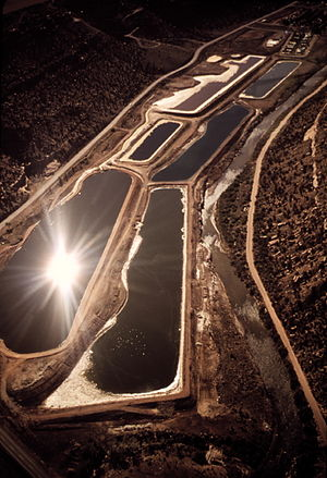 Uranium mining in Colorado - Holding ponds at Uranium processing mill in Uravan, Montrose county, Colorado