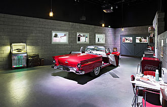 Rockheim - The 1950s room in the permanent exhibit features a Ford Thunderbird.