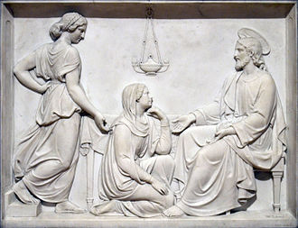 Václav Levý - Christ with Mary and Martha, a marble relief (1858)
